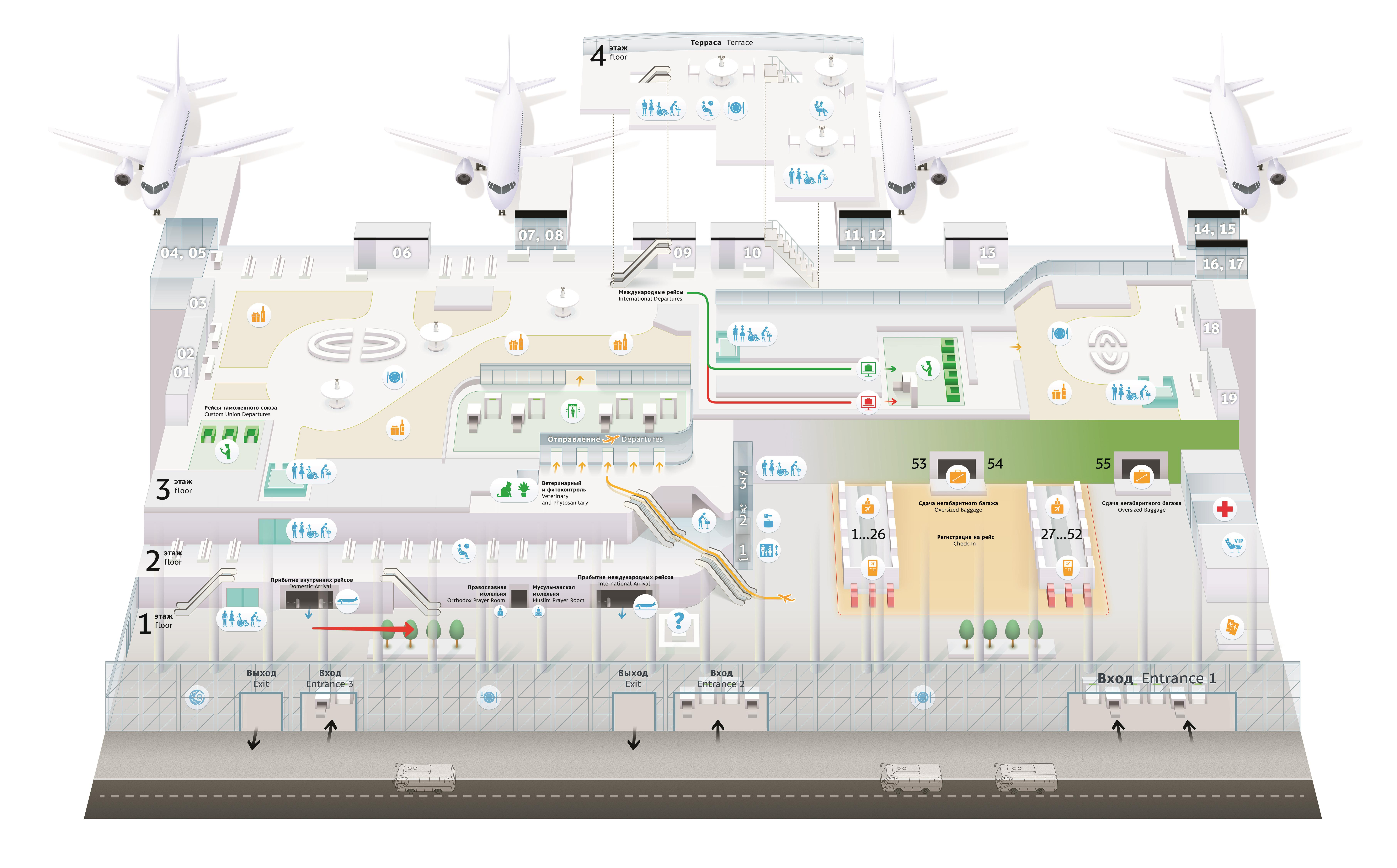 Схема стойки в аэропорту